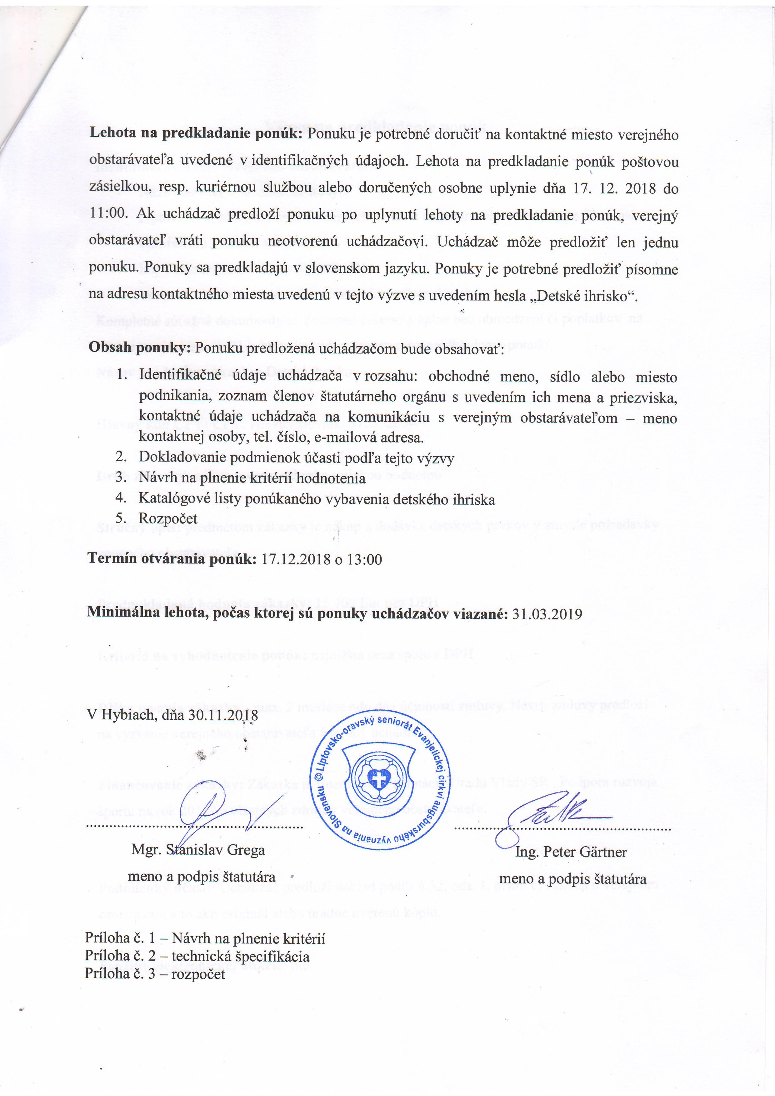 Výzva na predkladanie ponúk – Liptovsko-oravský seniorát 218fe1f6b10